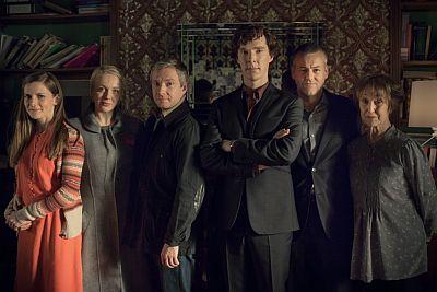 Picture shows: Molly Hooper (LOUISE BREALEY), Mary Morstan (AMANDA ABBINGTON), John Watson (MARTIN FREEMAN), Sherlock Holmes (BENEDICT CUMBERBATCH), DI Lestrade (RUPERT GRAVES) and Mrs Hudson (UNA STUBBS)