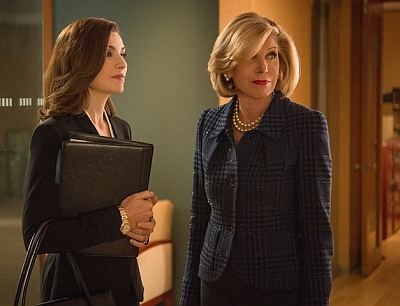 """Message Discipline"" -- While preparing his case against Cary, Finn discovers a potentially devastating piece of evidence, which could have ramifications for Alicia and Peter.  Meanwhile, Eli becomes wary when a new prospective candidate emerges in the race for State's Attorney, on THE GOOD WIFE, Sunday, November 2,  2014 (9:30-10:30 PM, ET/9:00-10:00 PM, PT), on the CBS Television Network. Pictured (l-r) Julianna Margulies as Alicia Florrick and Christine Baranski as Diane Lockhart  Photo: David Giesbrecht/CBS ©2014 CBS Broadcasting Inc. All Rights Reserved"